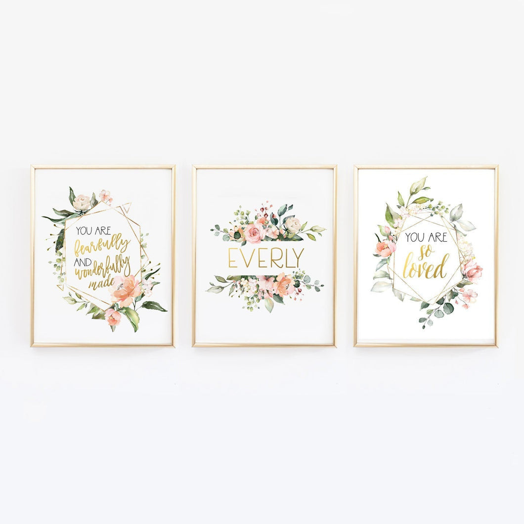 Custom Name Floral Nursery Wall Prints - I am so loved, Fearfully and Wonderfully Made