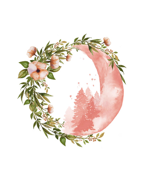 Botantical Moons Nursery Print with Custom Name - Set of Three