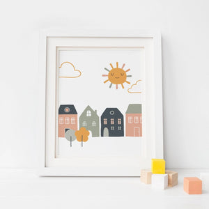 Row of Houses Nursery Wall Art - Earthy Colors Nordic Modern Scandinavian Design