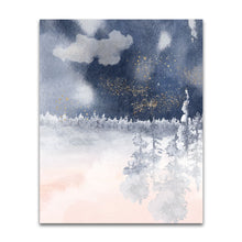 Load image into Gallery viewer, Modern Abstract Nature Print in Navy and Pink