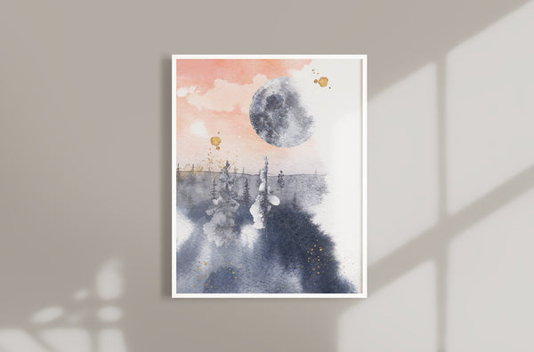 Modern Abstract Moon Wall Art  - Pink and Blue Decor