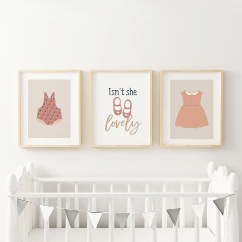 Isnt She Lovely Girls Nursery Wall Print - Neutral Earth Tones Beige Pink