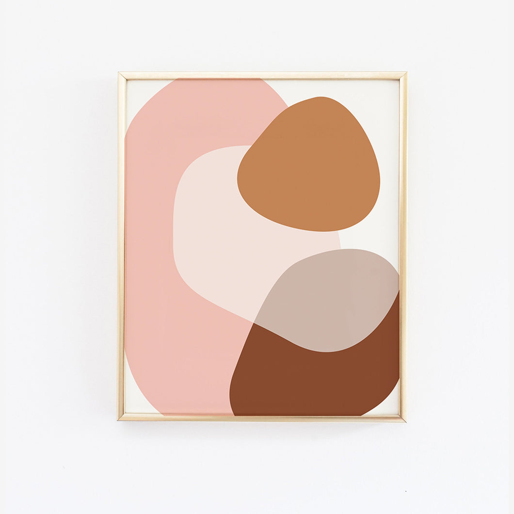 Mid Century Abstract Neutral Pink Shapes Art