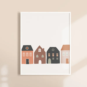 Row of houses Nursery Wall Print - Modern Scandinavian Design Kids Room