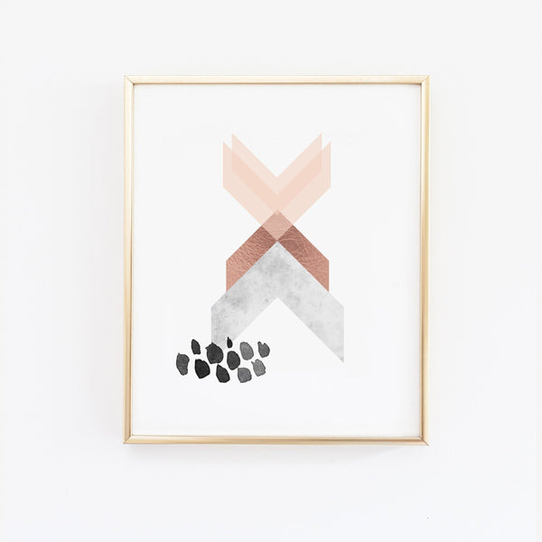 Abstract Geometric Art Print in Copper Pink and Marble