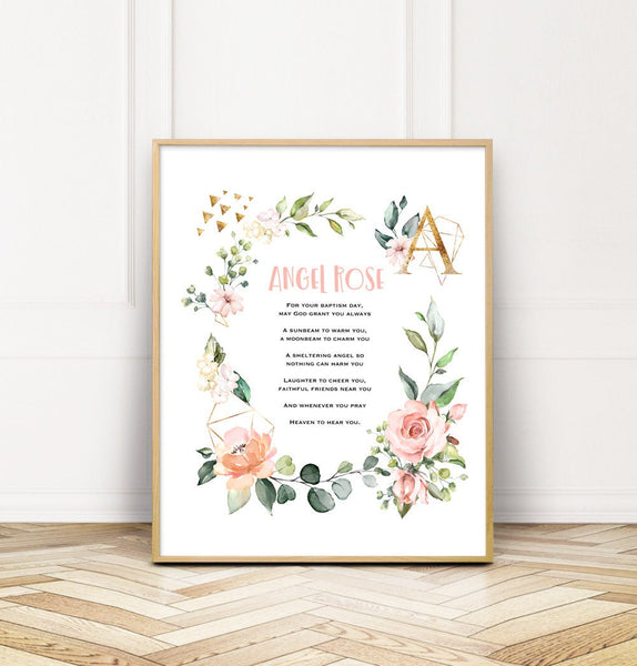 Personalized Baptism Wall Print Gift for Goddaughter from Godmother
