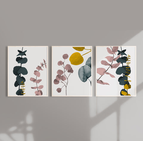 Botanical Eucalyptus Abstract Wall Art in White  - Set of three prints