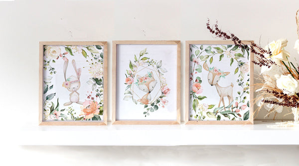 Woodlands nursery with fox, bunny, deer with floral for girl baby nursery - Set of three