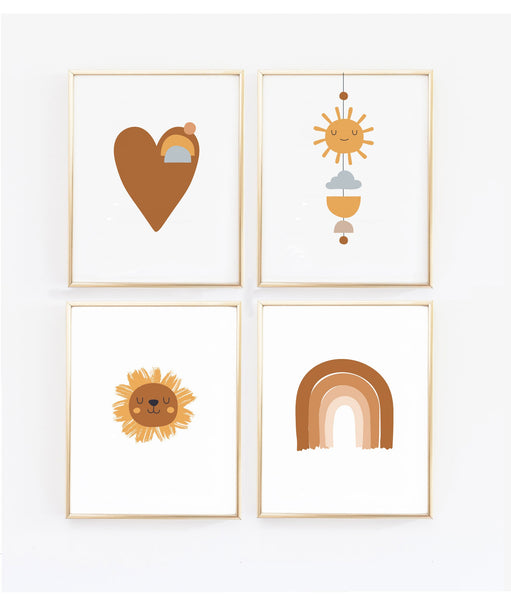Rainbow, Heart, Lion and Sun Neutral Nursery Art Set of four