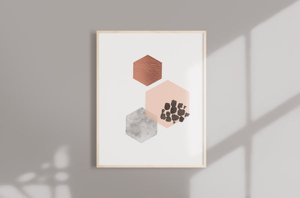 Hexagon Abstract Geometric Art Print in Copper Pink and gray