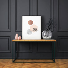 Load image into Gallery viewer, Geometric Hexagon Abstract Art Print in Copper Pink and Gray