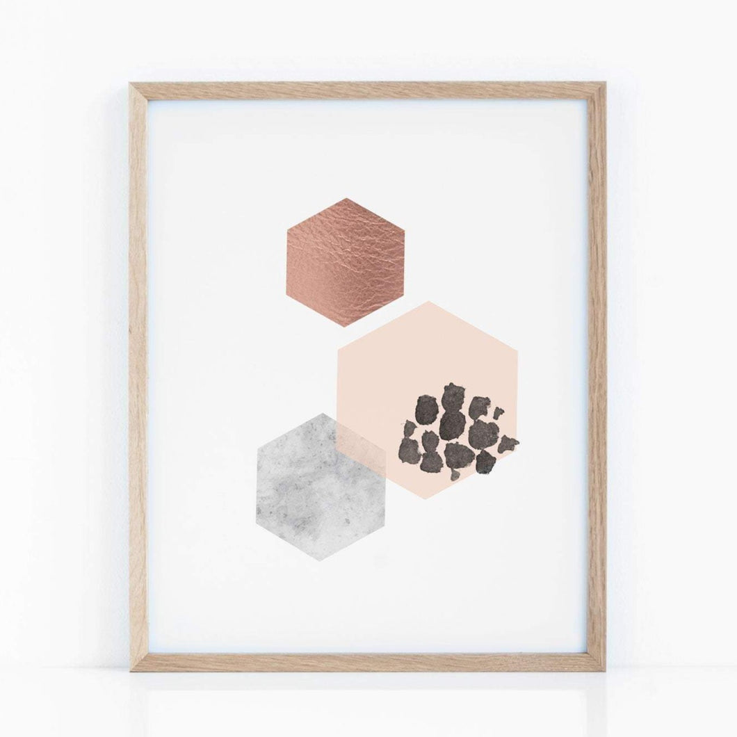 Geometric Hexagon Abstract Art Print in Copper Pink and Gray