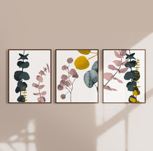 Load image into Gallery viewer, Botanical Eucalyptus Abstract Wall Art in White  - Set of three prints