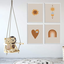 Load image into Gallery viewer, Rainbow, Heart, Lion and Sun Neutral Nursery Art Set of four