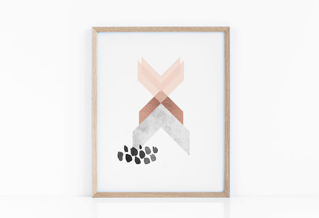 Geometric Art Print in Copper Pink and Marble