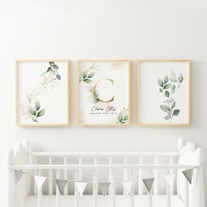 Custom Name Nursery Wall Art with Green Leaves and Gold - Set of three prints