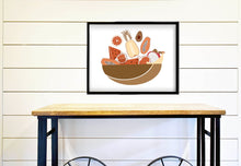 Load image into Gallery viewer, Kitchen Wall Art  - Fruit Bowl Wall Print - Modern Kitchen Decor - Boho Home Decor - Brown Earth Tones - Payaya - Pineapple - Watermelon