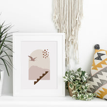 Load image into Gallery viewer, Beige and Pink Modern Landscape Wall Print - Mountains Bird Abstract Art - Large Printable Living Room Artwork