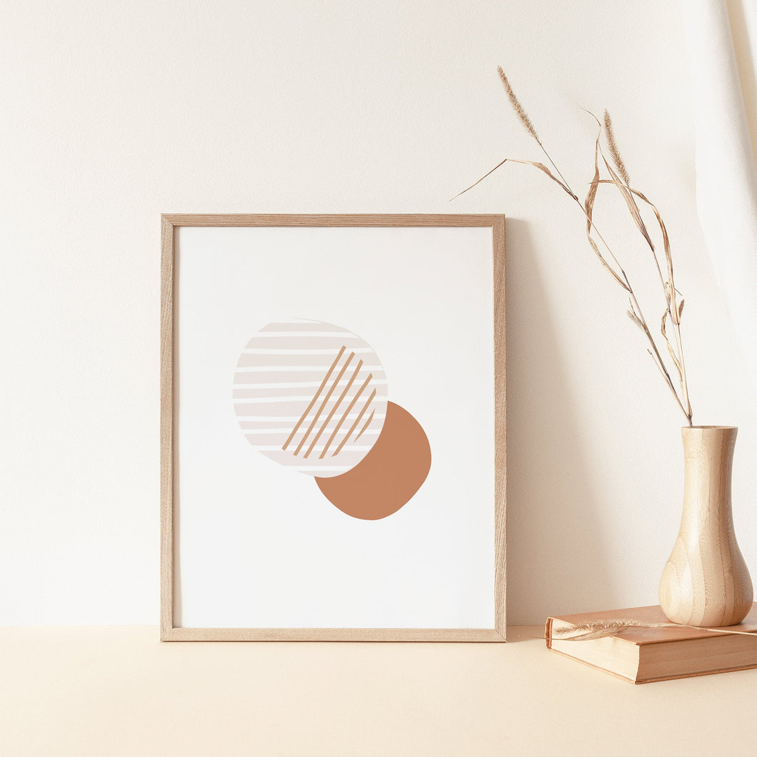 Circles Abstract Artwork - Neutral Beige, Terracotta Prints - Boho Earthy Wall Art - Lines Poster