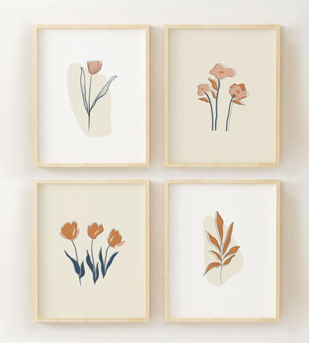 Set of Four Floral Wall Prints - Minimalist Artistic Posters - Boho Neutral Art - Beige and Terracotta - Boho Home Decor - Floral Line Art
