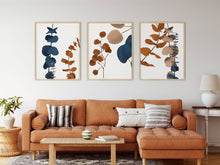 Load image into Gallery viewer, Eucalyptus Leaves - Wall Art Print - Set of 3 - Plant Terracotta Caramel Brown - Wall Prints Boho Decor