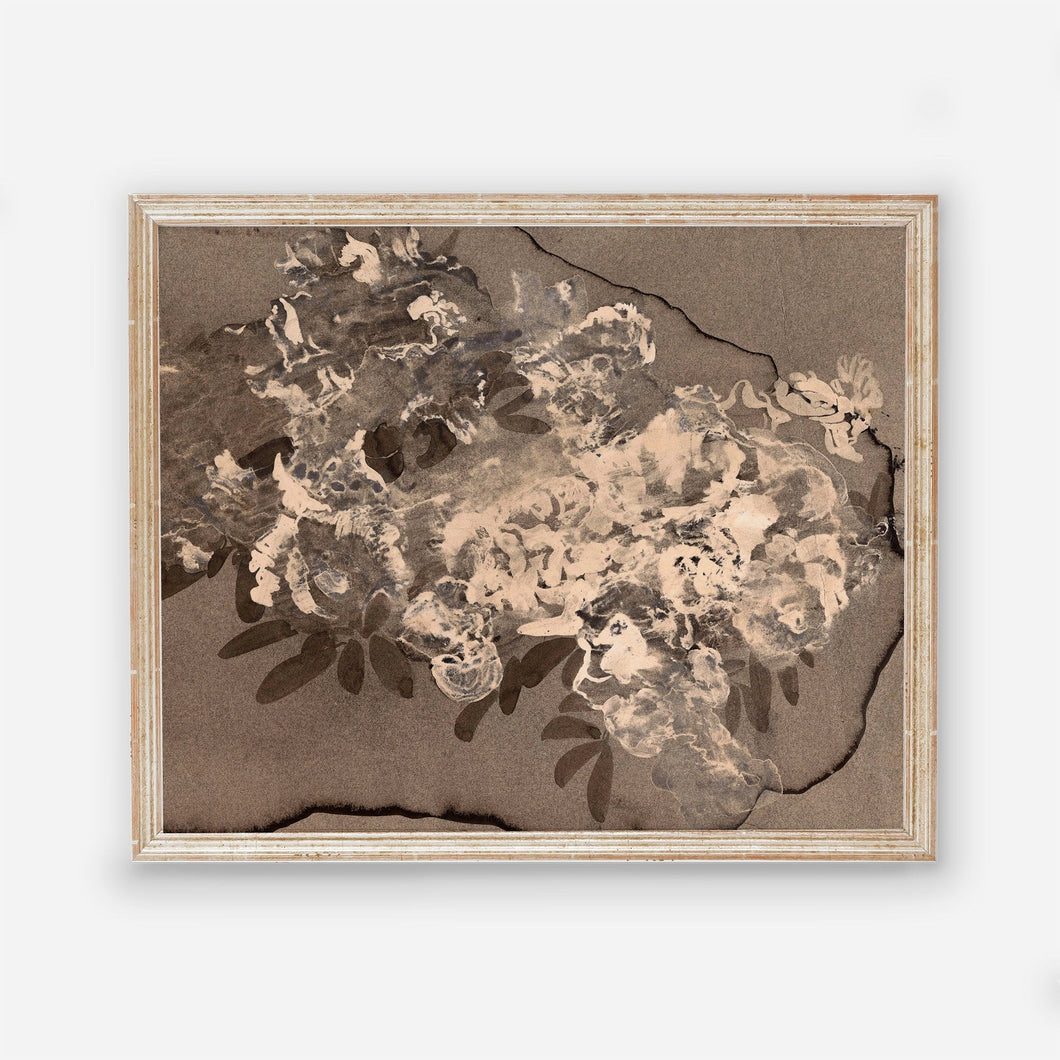 Messy Flower Vintage Floral Wall Art - Dark Modern Bedroom Flowers Wall Prints - Printed and Shipped Reproduction -