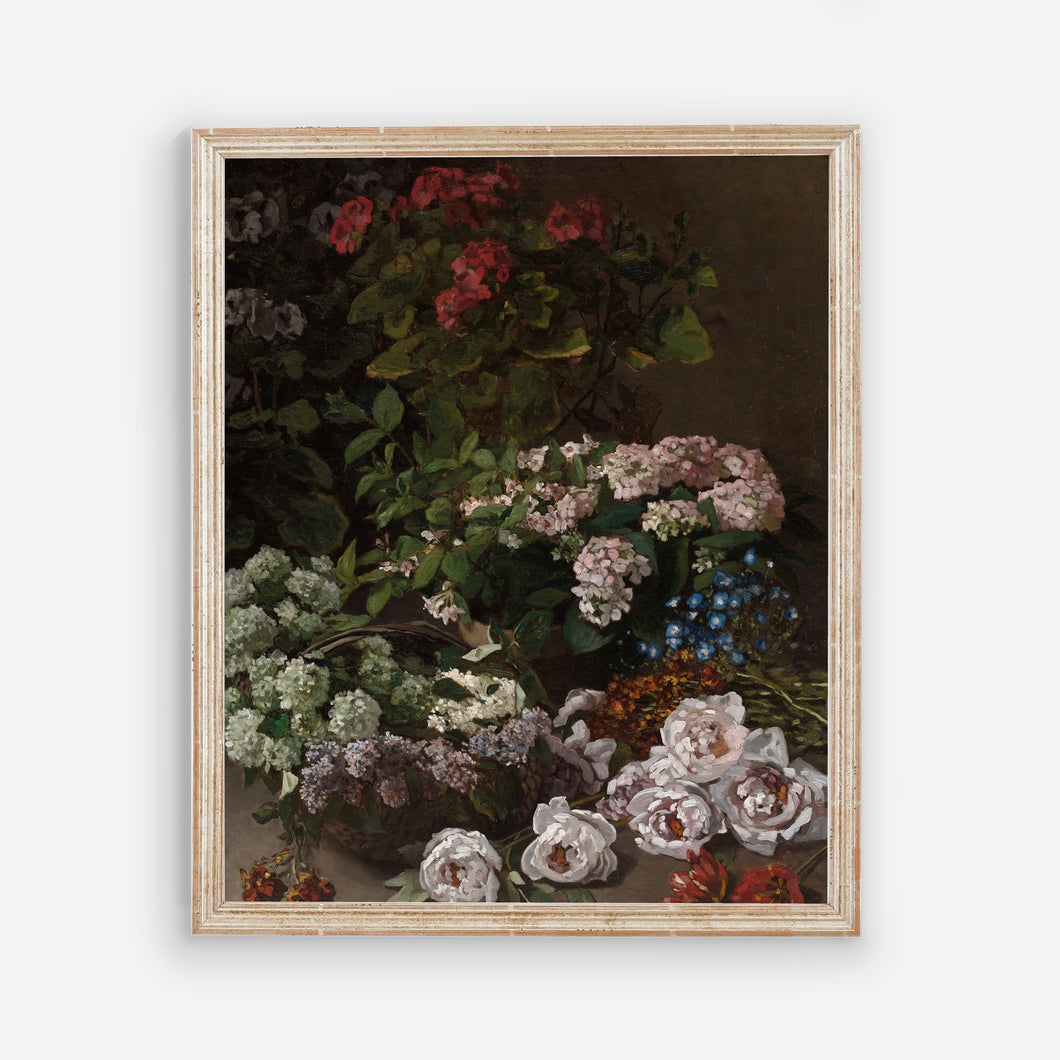 Dark Floral Vintage Wall Art - Modern Farmhouse Bedroom Flowers Wall Prints - Printed and Shipped Reproduction -