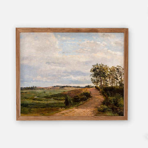 Dirt Road Landscape Vintage Artwork - Old Painting Farmhouse Kitchen Living Room Decor Picture - Printed and Shipped Reproduction