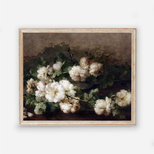 Flowers Art Poster with white and black - Vintage Copy Picture Art - Bedroom Floral decor - Printed and Shipped - Laying White Flowers