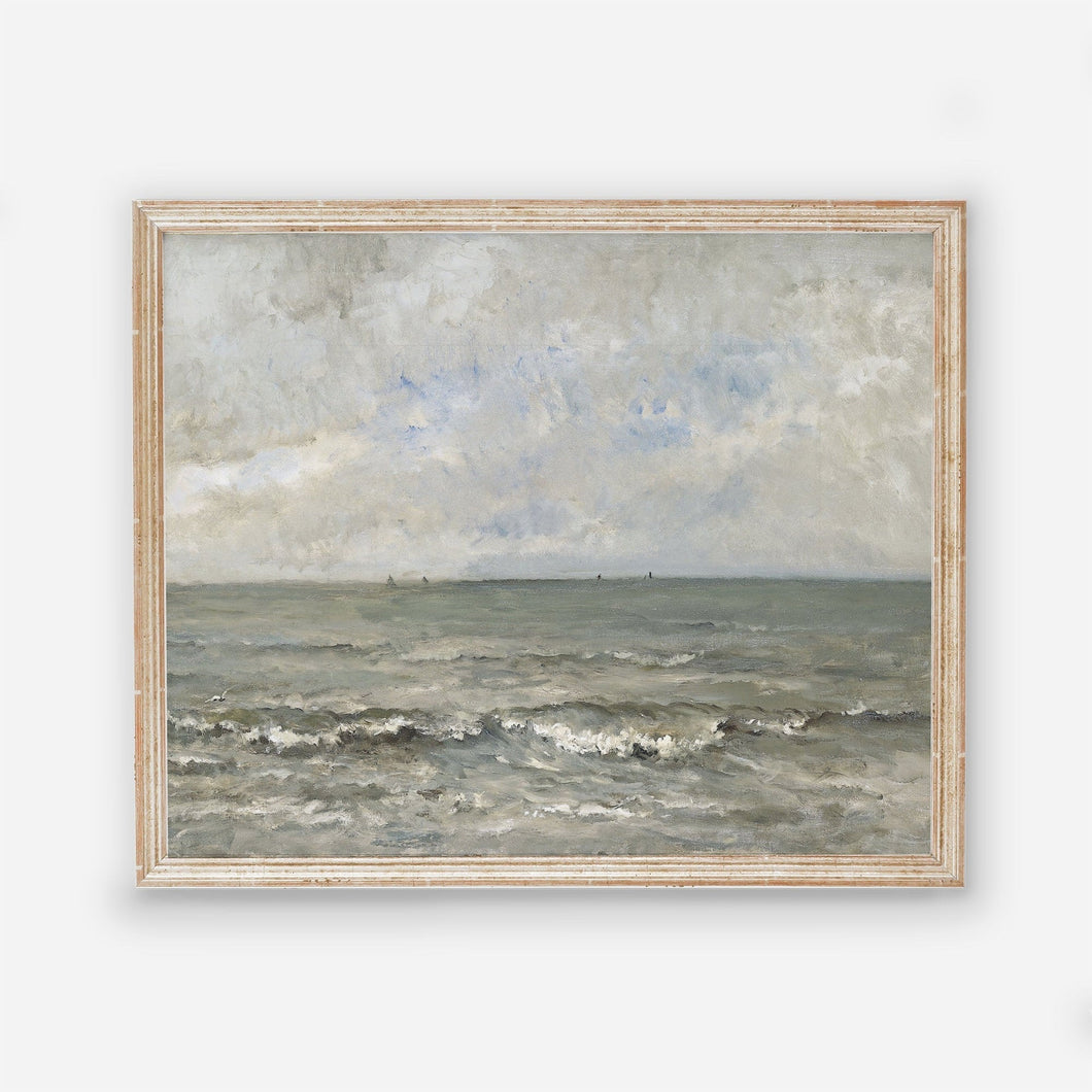 Rough Water and Sky Vintage Coastal Wall Art Farmhouse Oil Painting Replica