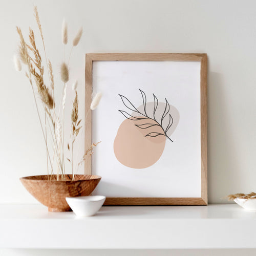 Modern Simple Wall Art - Pink and Beige Leaf Line Art