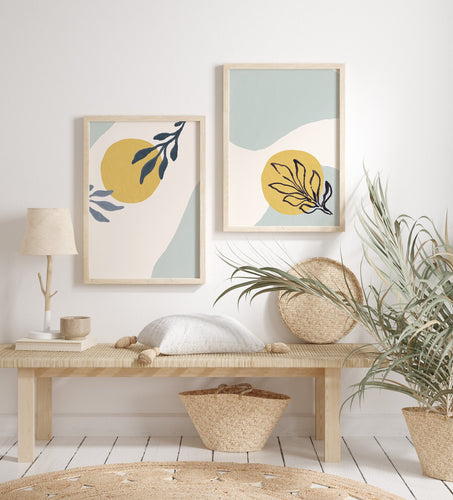 Light blue and Yellow Modern Abstract Wall Print with Shapes and Paint Brushed Leaf - Set of Two
