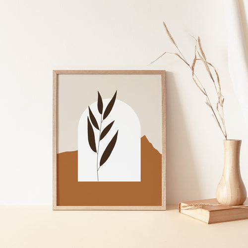 Simplistic Modern Print - Terracotta Abstract Leaf Artwork - Earthy Neutral Tones - Archway Poster - Bedroom Wall Prints