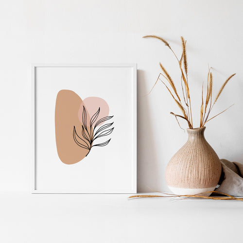 Simplistic Modern Print - Pink and Beige Abstract Leaf Artwork - Earthy Neutral Tones - Bedroom Wall Prints