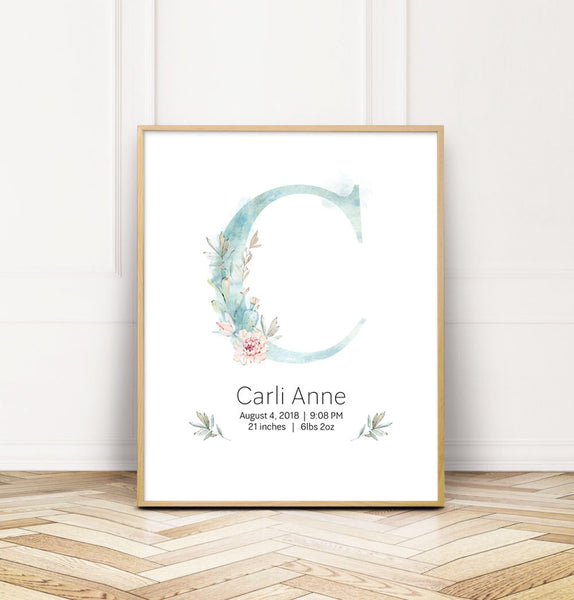 Customized Cactus Nursery Girl Name Wall Print Baby Keepsake - Wall Prints