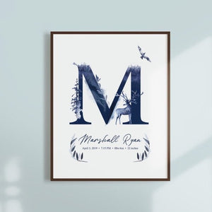 Woodlands Custom Name Wall Art with Birth Stat Details