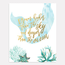 Load image into Gallery viewer, Mermaid Wall Art - Dream higher than the sky and deeper than the ocean in teal