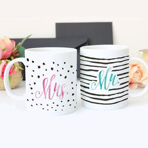 Wall and Wonder Mugs Mr and Mrs Mugs - Two Ceramic Coffee Mugs