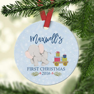 Wall and Wonder Ornament Boy Elephant  - Baby's First Christmas Ornament