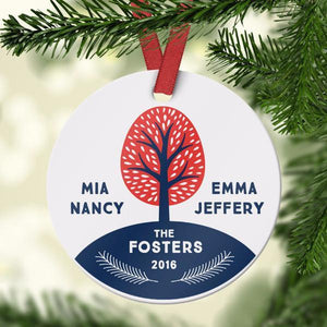 Wall and Wonder Ornament Custom Family Tree Name Ornament