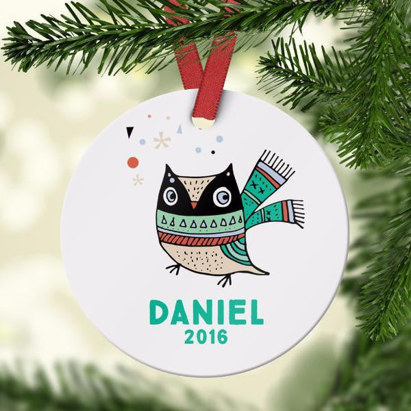 Wall and Wonder Ornament Cute Personalized Owl Ornament
