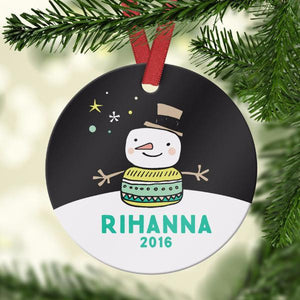 Wall and Wonder Ornament Cute Snowman Name Ornament