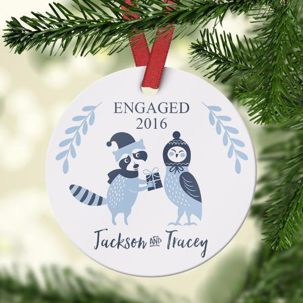 Wall and Wonder Ornament Engaged Christmas Ornament - Owl and Raccoon