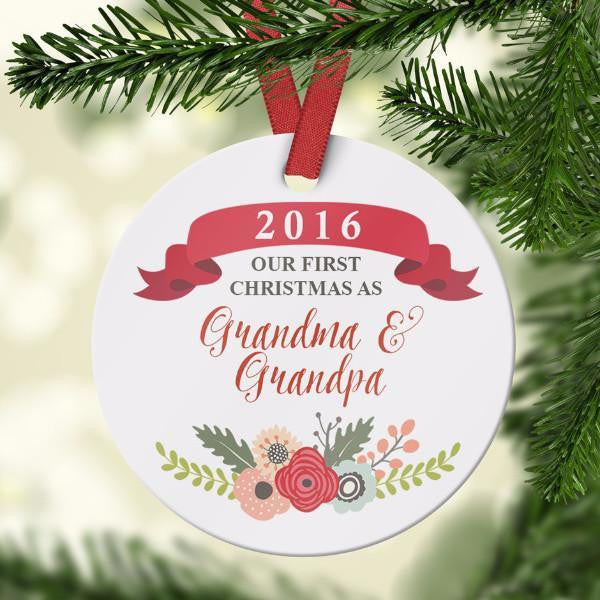 Wall and Wonder Ornament First Christmas as Grandparents - Floral Ornament