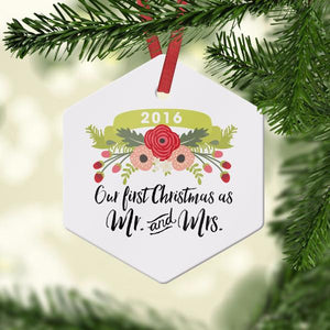 Wall and Wonder Ornament First Christmas as Mr and Mrs Ornament - Floral Ribbon
