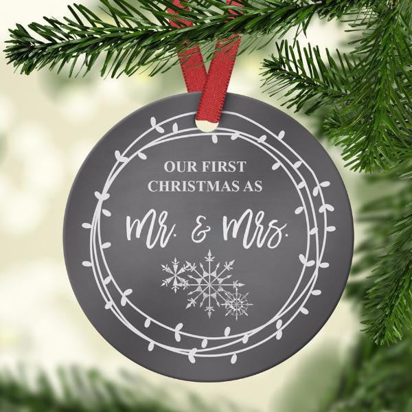 Wall and Wonder Ornament First Christmas as Mr & Mrs. Ornament - Chalkboard