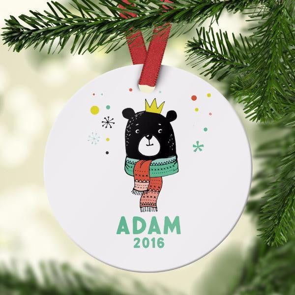 Wall and Wonder Ornament Kids Bear Ornament with Custom Name
