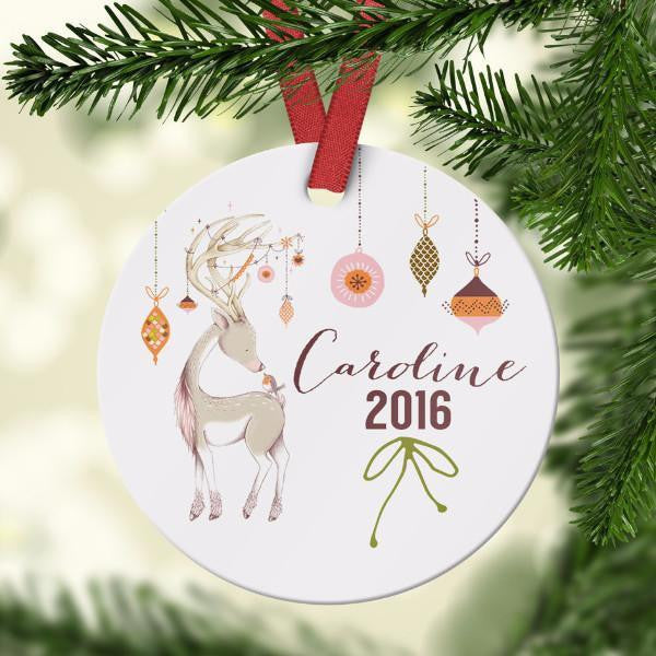 Wall and Wonder Ornament Personalized New Baby Ornament - Cute Deer