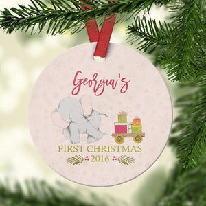 Wall and Wonder Ornament PInk Elephant Baby's First Christmas Ornament