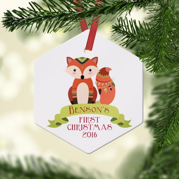 Wall and Wonder Ornament Tribal Fox Baby's First Christmas Ornament